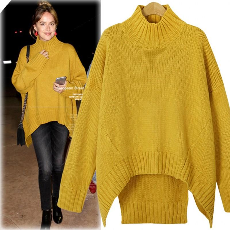 066b0cd5d1 2019 2017 High End Irregular Long Knitted Women Sweaters High Neck Long  Sleeves Loose Casual Pullover Sweaters Tops Plus Size XXXL From Sunny728
