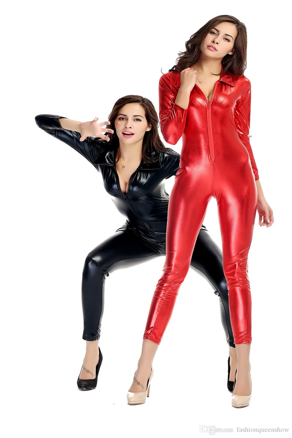 7891df814db3 2019 Red Black Women S Sexy Front Zipper Catsuit Wetlook Long Sleeve  Jumpsuit Metallic Catwoman Halloween Costume Exotic Clubwear From  Fashionqueenshow