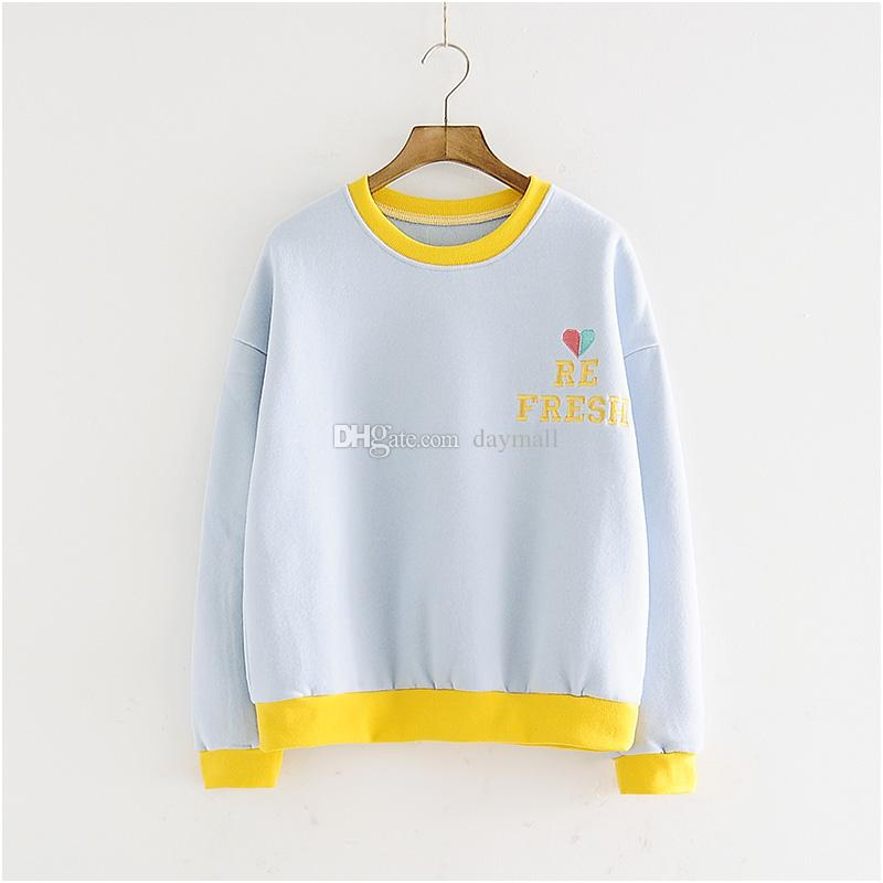 Spring and autumn new embroidery loose round neck collar sweater women short paragraph Korean version of the color was thin students jacket
