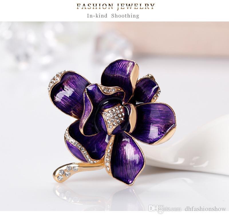 Colorful Flower Brooches For Women Long Dress Decorations Enamel Petal Rhinestone Golden Brooch Broche de Flor Para as Mulheres