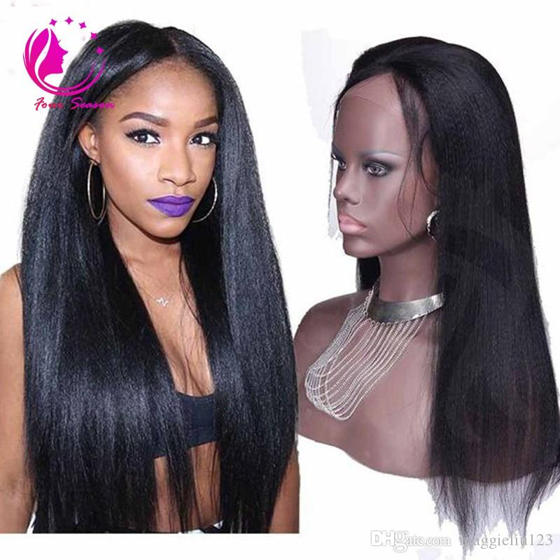 Virgin Brazilian Italian light Yaki Straight Human Hair Wigs Virgin Full Lace Wigs Natural Color Lace Front Wigs For Black Women