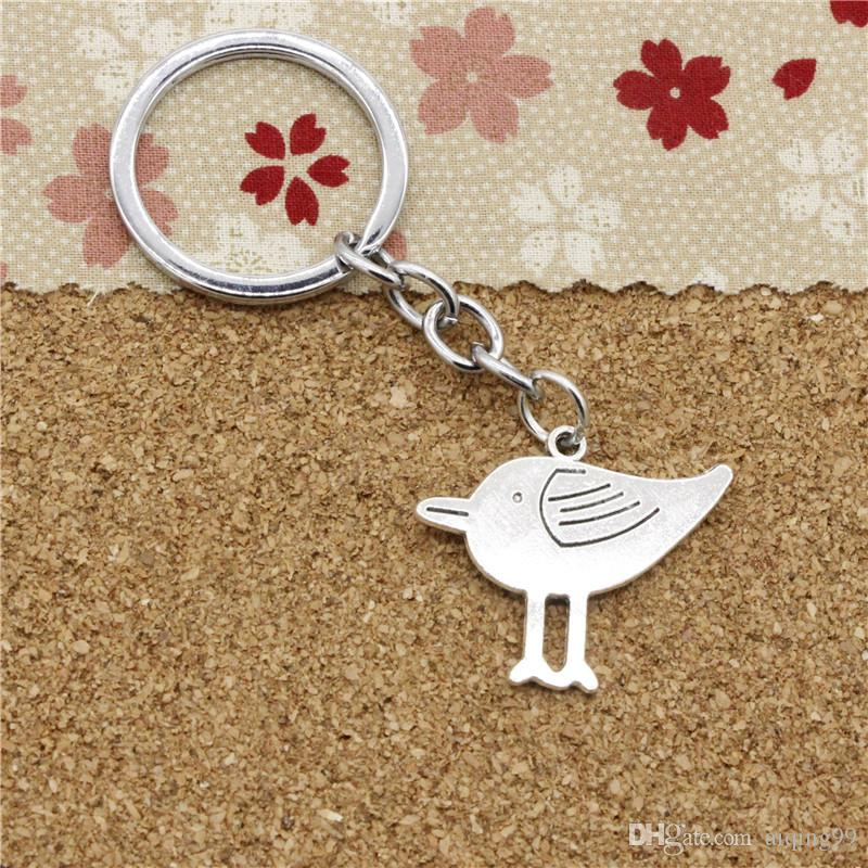 15pcs Fashion Diameter 30mm Metal Key Ring Key Chain Jewelry Antique Silver Plated double sided bird 27*32mm Pendant