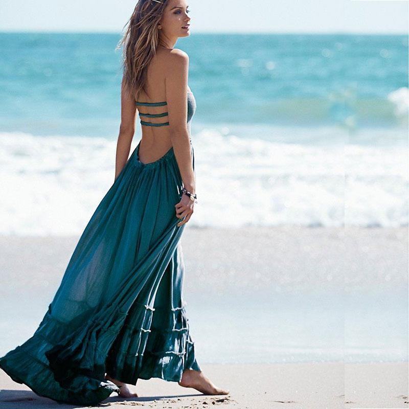 Compre Vestido De Playa Sin Espalda De Las Mujeres Bohemia Vestido Maxi  Ocasional Fiesta De Noche De Verano Hippie Chic De Algodón Largo Vestido De  Fiesta ... 577593010e3a