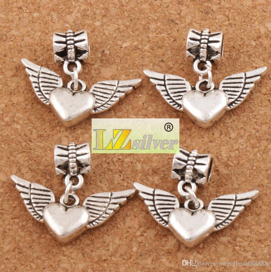 Angel Wing Coração Big Hole Beads 100 pçs / lote 21.8x24.5mm Antique Fit Prata Charme Europeu Pulseiras Jóias DIY B189