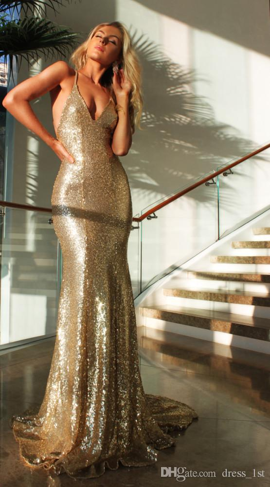 Latest 2017 Sexy Champagne Gold Sequined Mermaid Prom Dresses Long Cheap Halter Backless Formal Eevening Party Gowns Custom Made EN6235