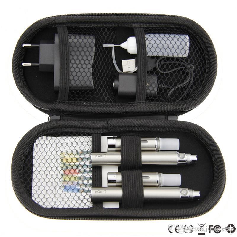 NEW ego mt3 double kits mt3 ego t large kits double mt3 vaporizer ego t battery 650mah 900mah 1100mah e cigarette zipper kit
