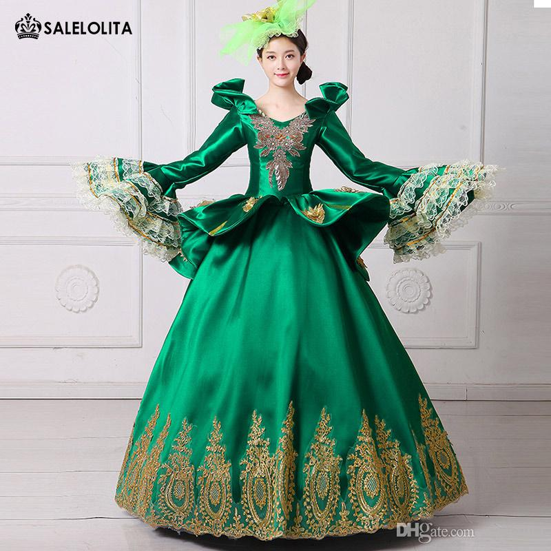 14a4139a5406c 2018 Women Royal Green Embroidery Vampire Queen Dress Masquerade Ball Gown  Marie Antoinette Southern Belle Costume Theatrical Clothing