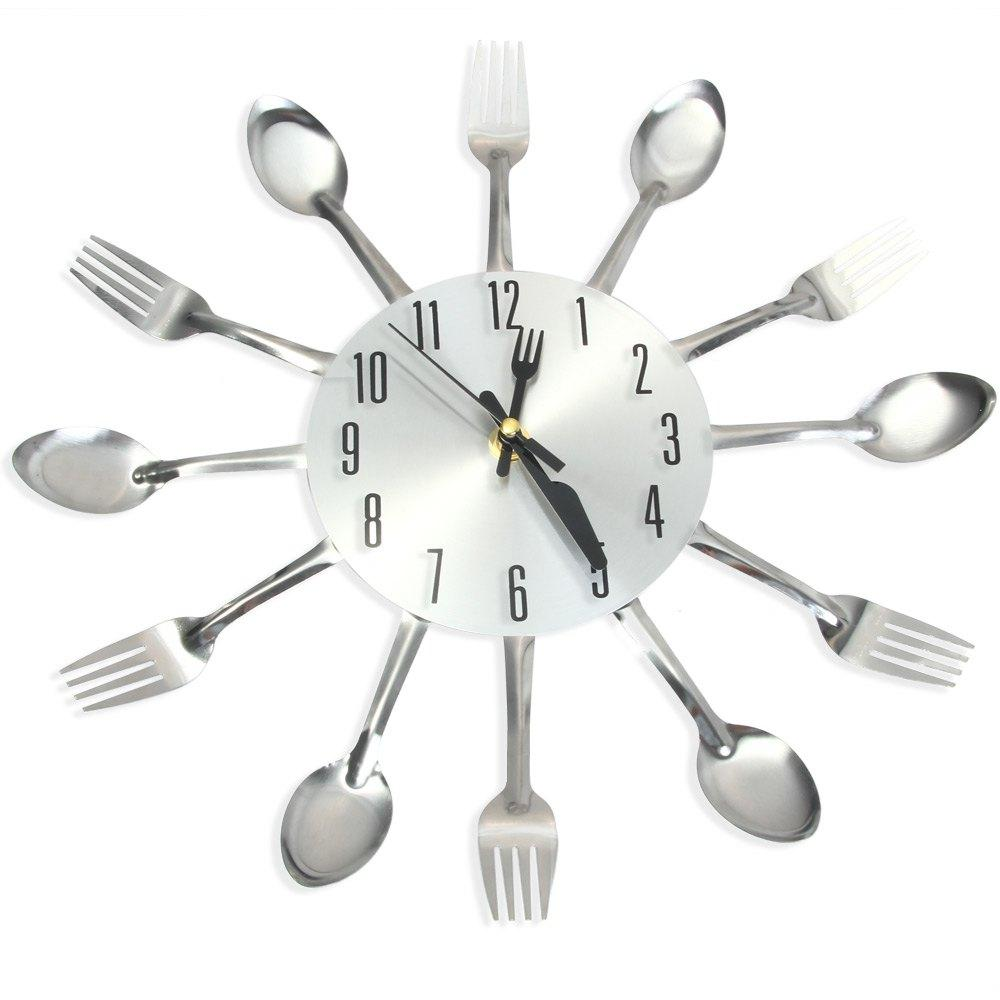 Modern Sliver Multi Color Cutlery Kitchen Wall Clock Spoon Fork ...