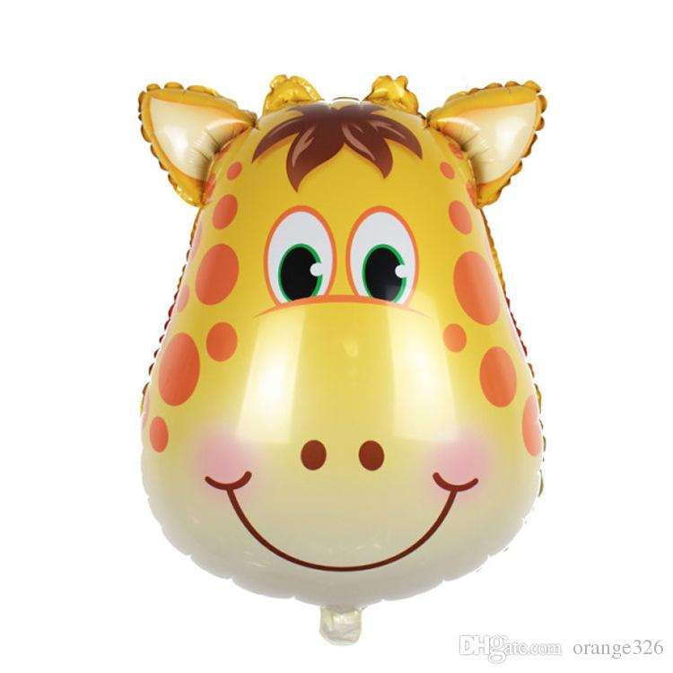 Giant Lion monkey zebra cow tiger Giraffe Head Helium Foil Balloons Birthday Party Animal Balloons theme party Suppies
