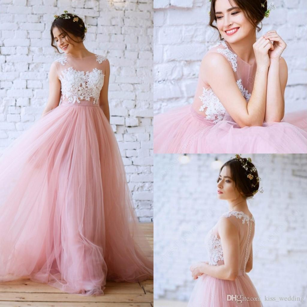 Discount Hot Selling A Line Wedding Dresses Sheer Bohemia Style ...