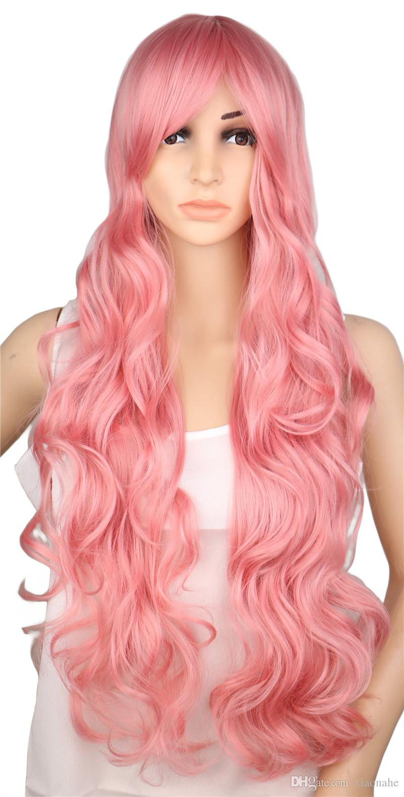 Long Curly Cosplay Wig Costume Party Red Pink Sliver Gray Blonde Black 70 Cm High Temperature Synthetic Hair Wigs