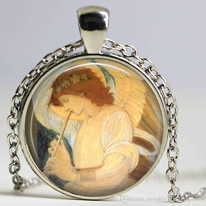 ANGEL necklace Whimsical Musical Holy Angel Art necklace Cabochon Custom Church Faith Hope Gift