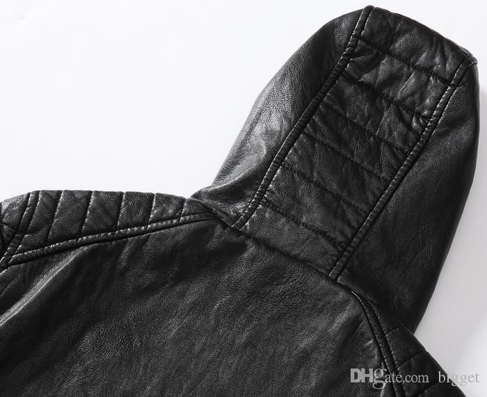 Kapüşonlu Deri Ceket Erkekler 2019 Yeni Slim Fit Hood Biker Deri Ceket Adam 78 Metal Yama Tops