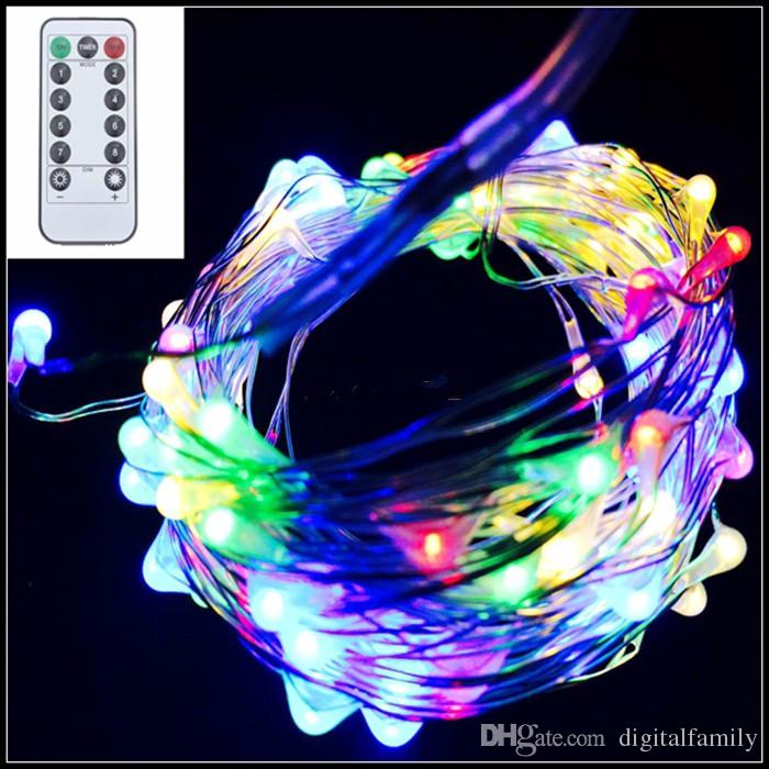 10M 100LED 8 mode Battery Operated IP65 Silver Copper Wire String Fairy Light Xmas Party Decor Lamp With Remote Controller 8 mode