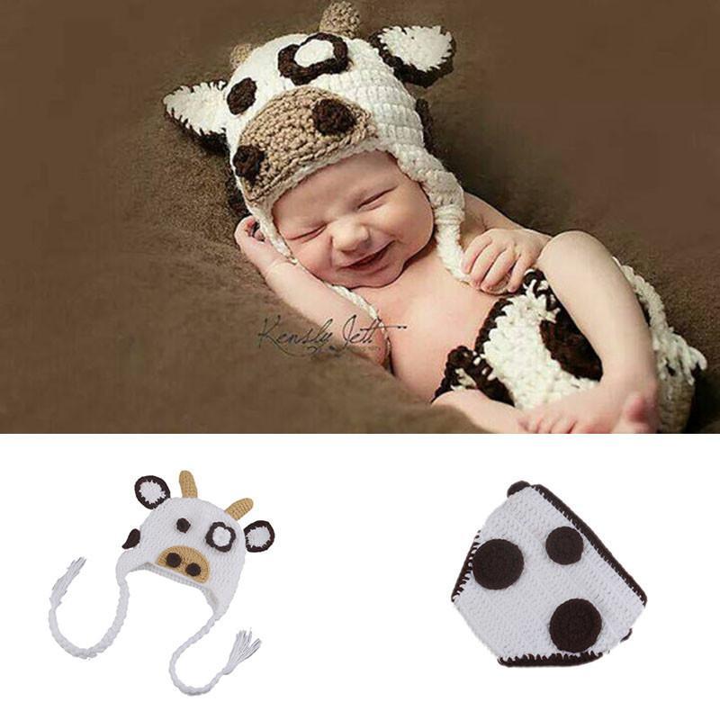 Häkeln Schöne Kühe Cap Fotografie Requisiten Baby Kostüm Häkeln Baby Mütze Design Baby Hut Neugeborenen Foto Requisiten Gestrickte Bp076