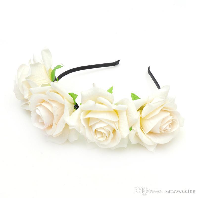Nouveau Mode De Mariage De Mariée Demoiselle D'honneur Artificielle Fleurs Rose Coiffe Princesse Couronne Bijoux 2017 Pour Les Femmes Pageant Prom Coiffure Cheveux