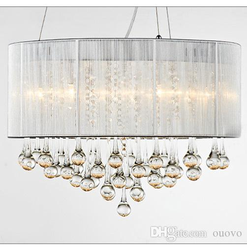 Modern Water Drop Crystal Dining Room Ceiling Pendant Lamp Drawbench Fabric Lampshade Living Chandeliers Decorated Bedroom Pendants Small