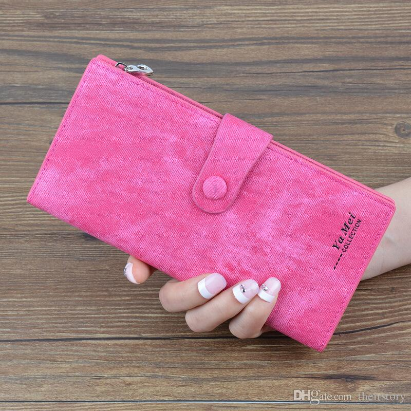 Trendy Fashion Casual Notecase long Canvas Wallets Denim Jeans Pocket Zipper Credit Card Holders Coin Purse Women