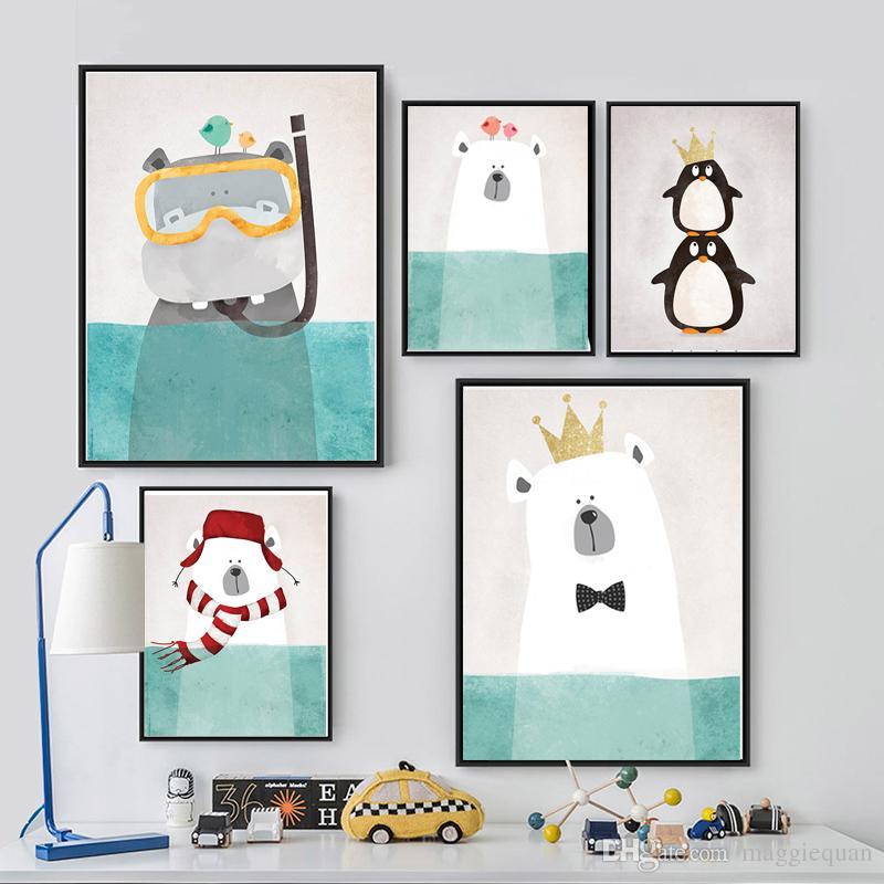 Nordic Kawaii Animals Prints Posters Canvas Polar Bear/Hippo/Penguin ...