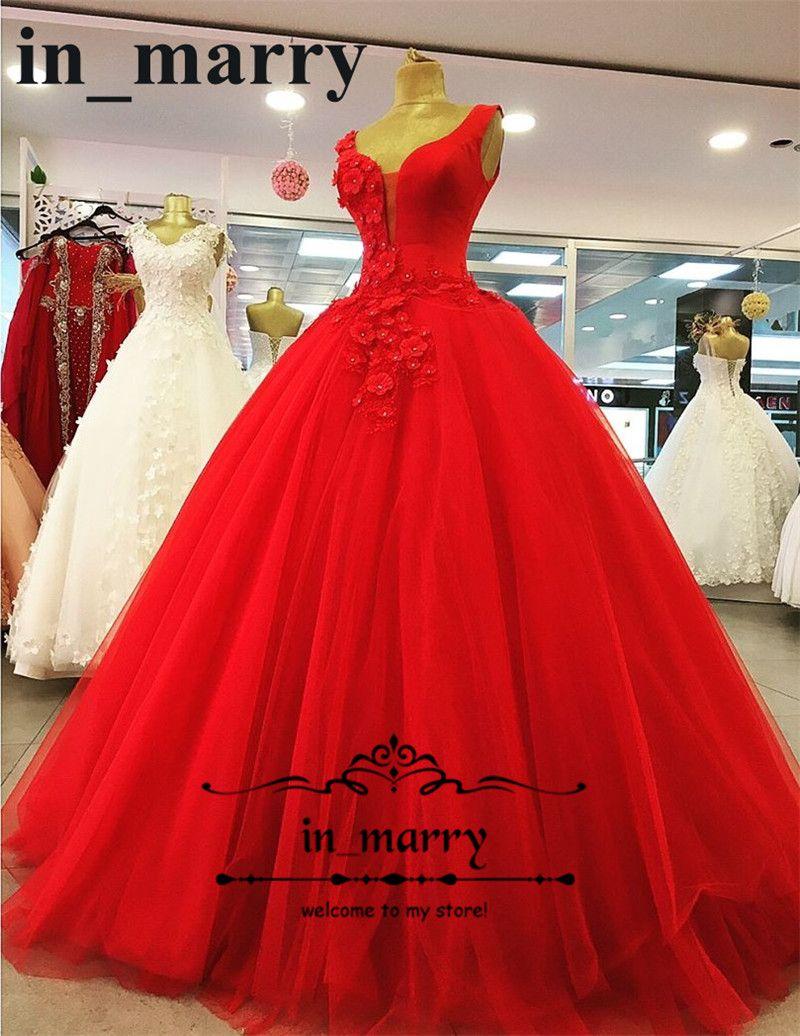 Großhandel Arabische Designer 3d Floral Red Prom Kleider 2018 Eine ...