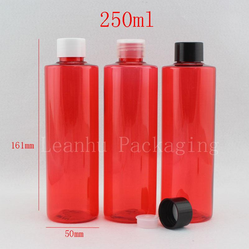 250ml x 25 red empty pet plastic bottles for cosmetic packaging