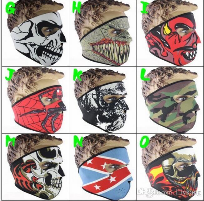 Capuche tactique de chasse anti-poussière masque visage fantôme crâne masque moto ski randonnée à vélo Cagoule partie effrayant cosplay masque complet