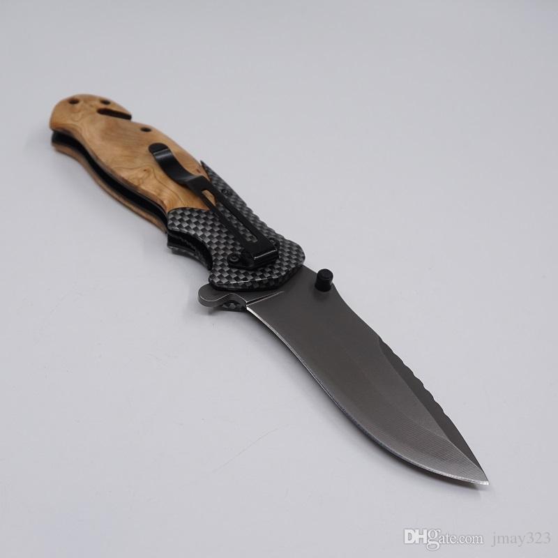 Beste Überlebensmesser Folding Taktisches Taschenmesser 440C Stahlklinge Holzgriff Camping Wandern Jagdmesser EDC Multi Tools Braun X50