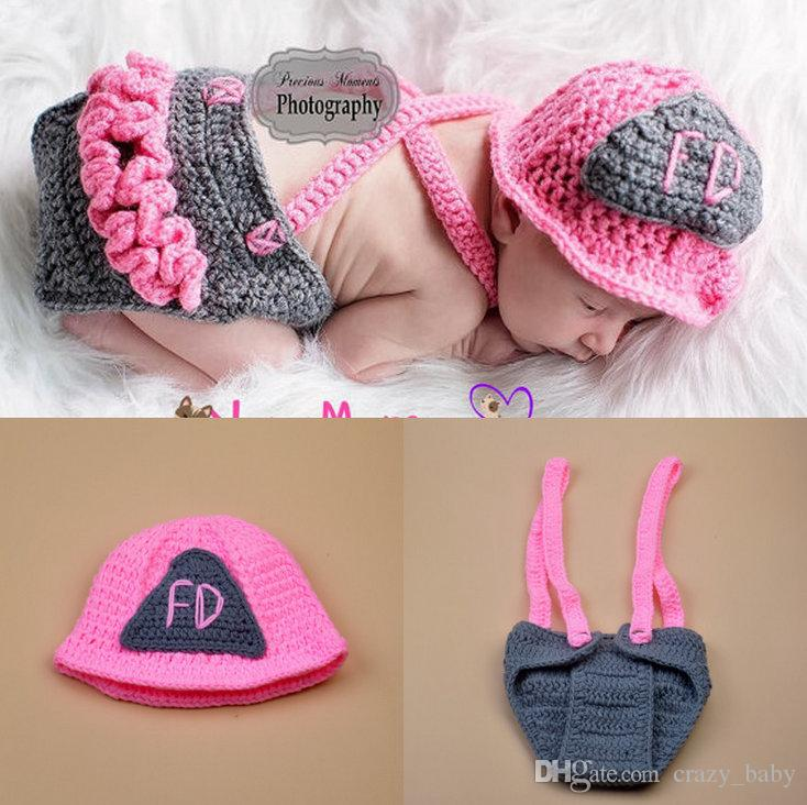 Cute Pink Firemen Design Infant Baby Unisex Photo Props Soft Crochet Baby Hat and Diaper Set for Fotografia Newborn Coming Home Outfits