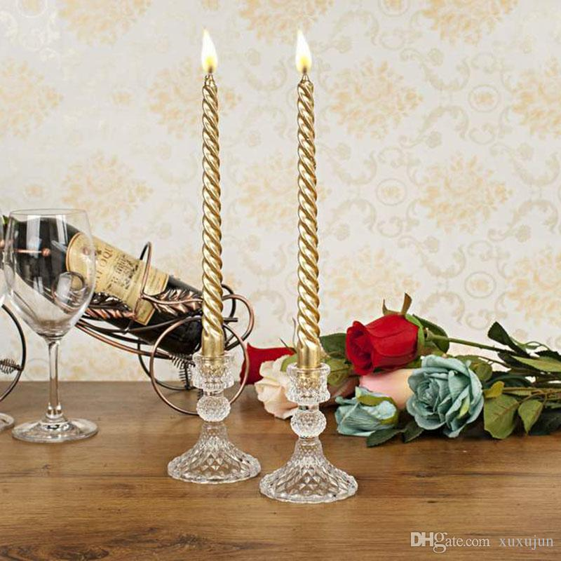 Crystal Glass Candle Holder Stand Wedding Tabletop Candelabrum Centerpiece Pineapple Candlestick Sets H/10cm