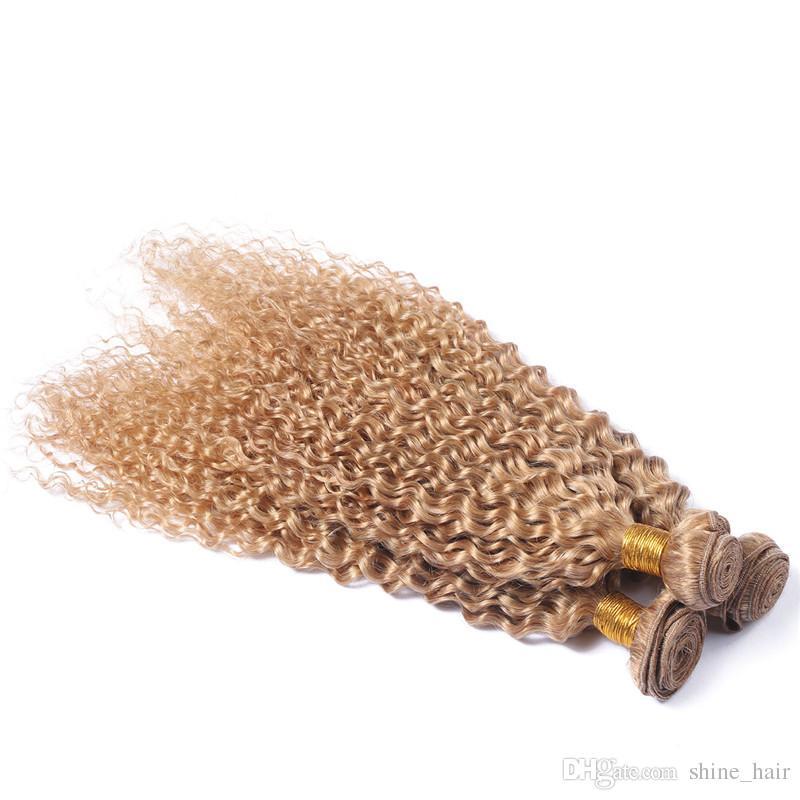 Virgin Peruvian Honey Blonde Human Hair Extensions Kinky Curly Strawberry Blonde Virgin Remy Human Hair Weave Bundles Double Wefts