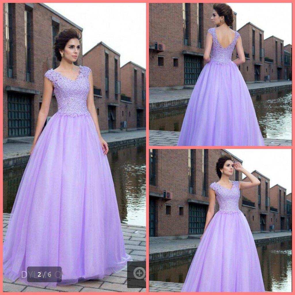 2017 New Design Lavender Ball Gown Short Sleeve Modest Evening ...
