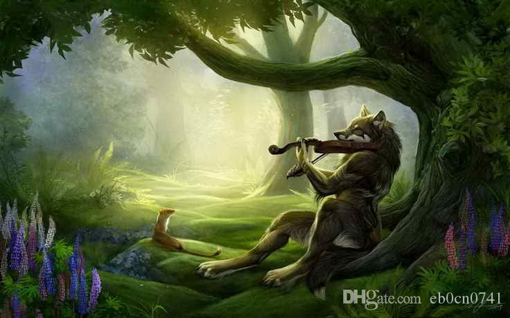 2018 Fun Home Decor Art Wall Fantasy Violin Wolf Oil Painting Drawn ...
