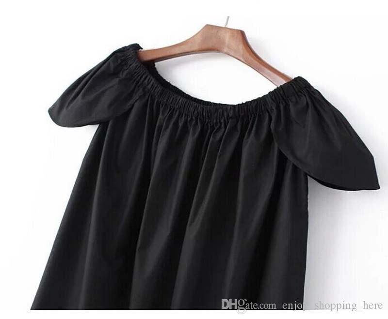 women dress A line skirt puff short sleeves slash neck summer t shirt black white fold lolita girls dresses YJ0231