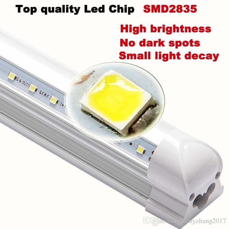 T8 Led 튜브 4피트의 V-그늘 통합 형광 Led 빛 1,200mm 28W 슈퍼 브라이트 270 학위 빔 각도 램프 최고 판매