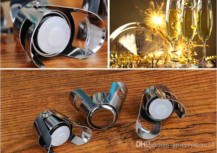 Stainless Steel Vacuum Champagne Stopper Wine Sealer Bottle Cap Stopper Solid Seal Kept Fresh Creative Gadgets