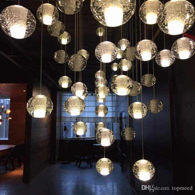 G4 Famous brand LED Crystal Glass Ball Pendant Meteor Rain Ceiling Light Meteoric Shower Stair Bar Droplight Chandelier Lighting AC110-240V