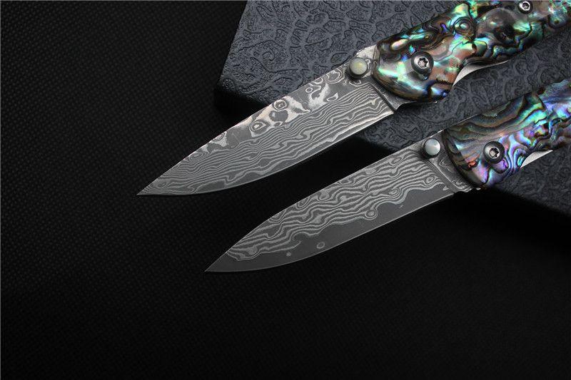 NUOVO !! Coltello pieghevole da tasca di alta qualità in acciaio damasco manico a conchiglia di colore Coltelli tattici coltello da campeggio di sopravvivenza migliore collezione regalo