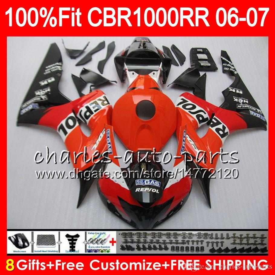 Injection Body For HONDA CBR 1000RR CBR 1000 Repsol orange RR 06 07 78NO68 100% Fit CBR1000RR 06 07 Bodywork CBR1000 RR 2006 2007 Fairing