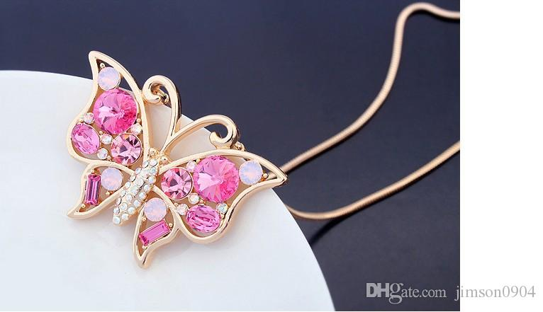 2017 new 1000se uses SWAROVSKI crystal sweater chain necklace Butterfly Crystal Pendant Necklace sale