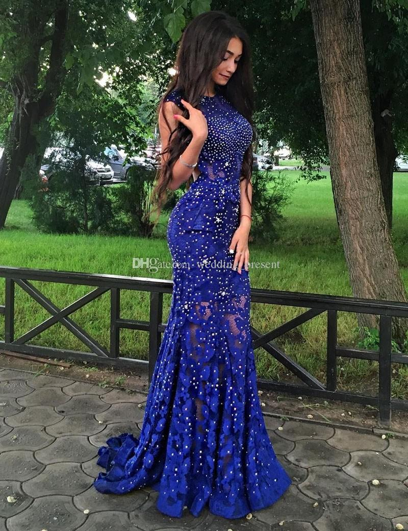 Exquisite Jewel Mermaid Prom Dresses with Crystal Beads Royal Blue Lace Evening Gowns Custom Made Open Back Pageant Party Dress