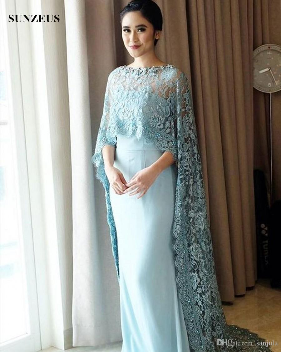 Elegant Long Formal Evening Dresses With Long Lace Cape Beaded ...