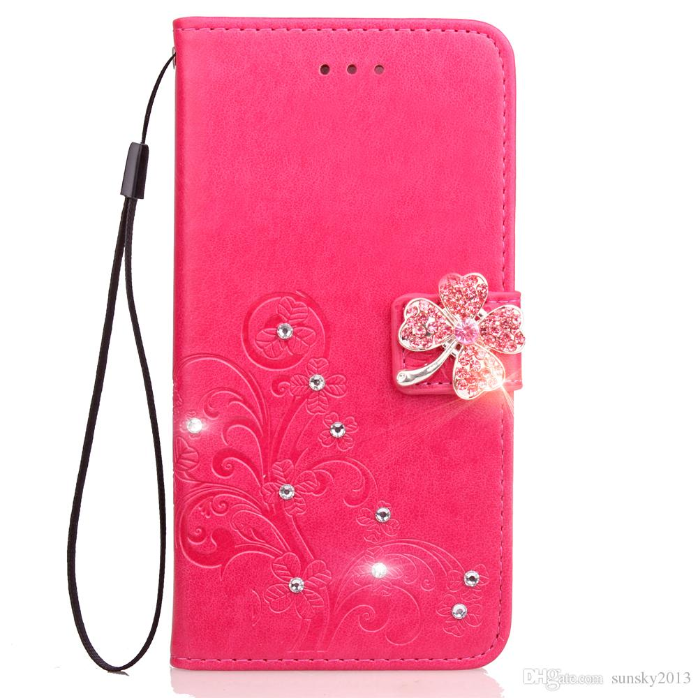 Wallet Diamond Case for Samsung S8 Pwith Card Slot Kickstand Flip Cover Glitter Phone Case PU Leather + TPU Case Clover Pattern S6 edge Plus