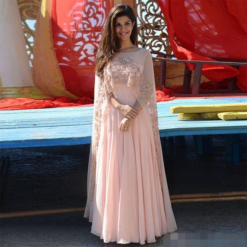 Arapça Kaftan 2019 Pembe Aplike Kadınlar Abiye Sheer Pelerin Boncuk Şifon Örgün Törenlerinde Ile Hint Uzun Balo Elbise