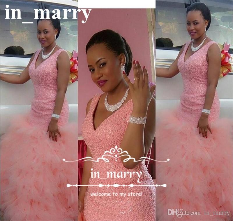 Luxury Pink Sequined Beaded Mermaid Prom Dresses 2017 V