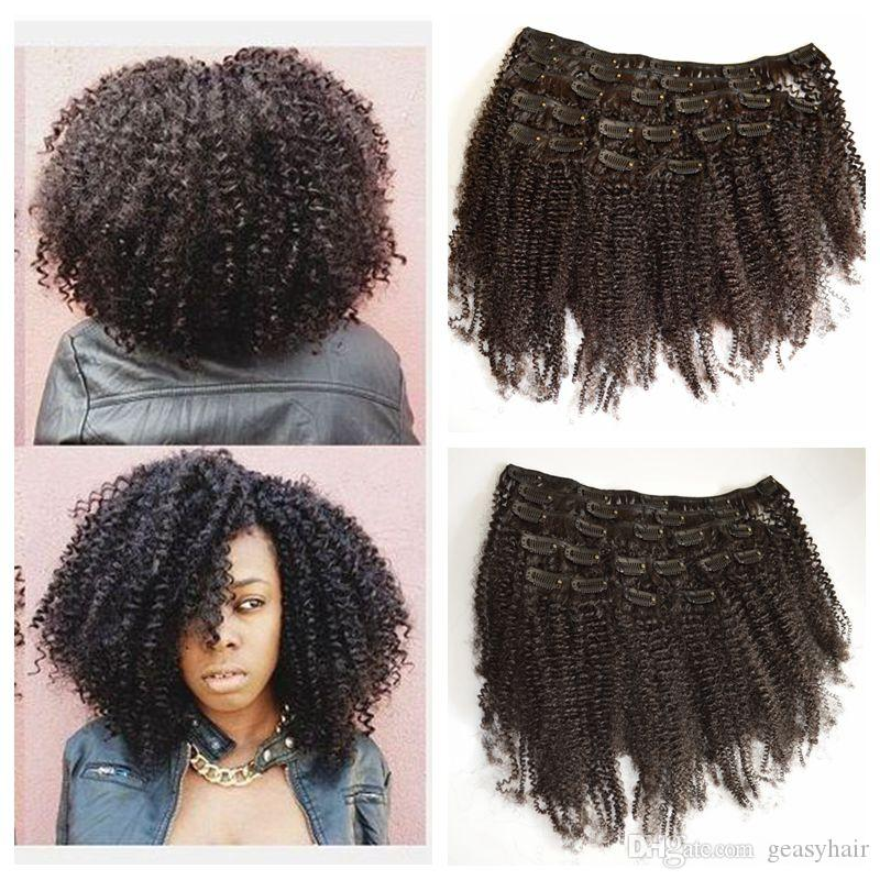 Clip In Human Hair Extensions African American 4b 4c Afro Kinky