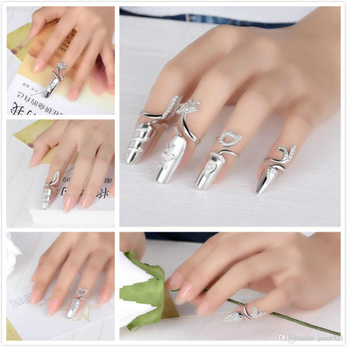 Womens Jewelry Fingernails Ring Sterling Silver Nail Art Charms ...