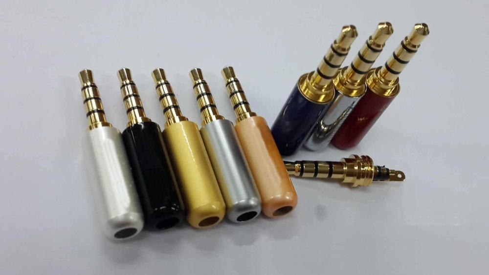 50PCS 3.5 mm Plug Audio Jack 4 Pole Gold Plated Earphone Adapter for DIY Stereo Headset Earphone or Used for Repair Earphone