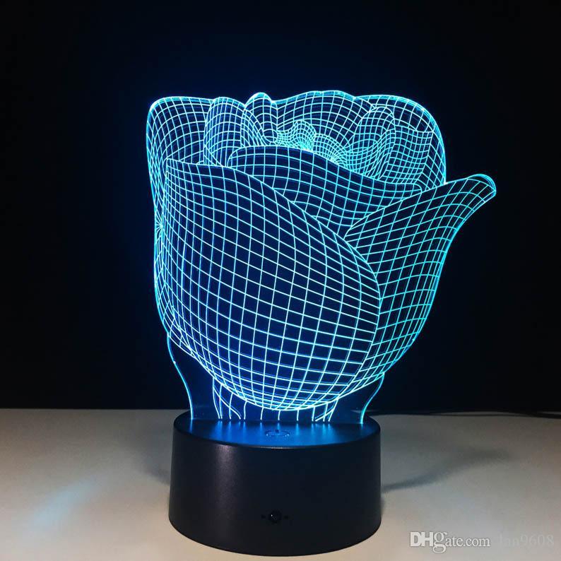 장미 야간 조명 개인화 된 선물 발렌타인 데이 장식 테이블 램프 3D 비전 다채로운 색상 분위기 차원 빛