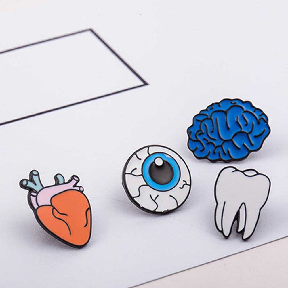 Zinc Alloy Enamel Eye Teeth Brain Heart Brooches Pins Human Body Organs For Womens Jewelry Needle Brooch Lapel Pin Collar