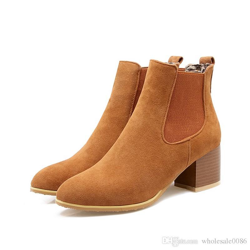 a3711a81 Compre Nueva Moda Caliente De La Mujer De Imitación De Gamuza Punta Redonda  Zapatos Chunky Grueso Tacón Alto Elasticidad Botines WB674 Negro, Marrón,  ...